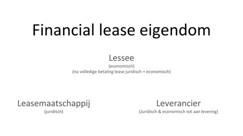 financial lease eigendom